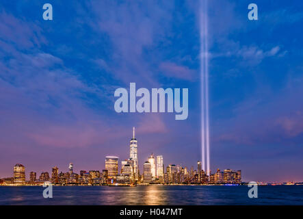 Tribute in Light New York Skyline New York City Skyline One WTC Freedom Tower Manhattan Skyline - Stock Photo