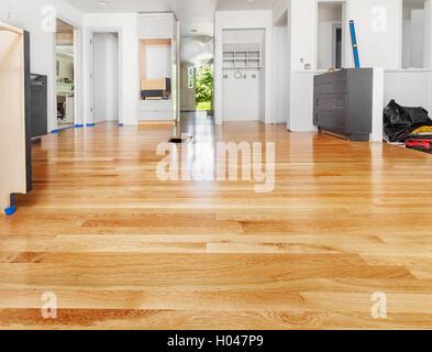 Refinished hardwood floor - Stock Photo