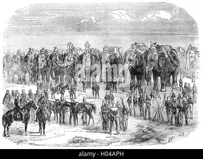 Troops preparing to march during the Indian Rebellion  against the rule of the British East India Company, that - Stock Photo