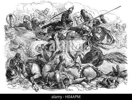 Mutineers pursued by cavalry during the Indian Rebellion  against the rule of the British East India Company, that - Stock Photo