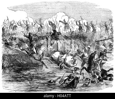 The British Army lead by Colonel Sir Edward Harris Greathed (1812 – 1881) chasing mutineers in the Battle of Agra - Stock Photo