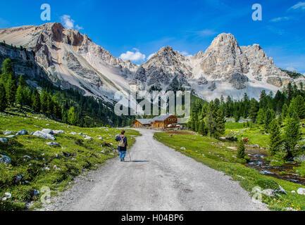 Walking in Dolomites, Fanes Senes Braies, Alta Badia,San Vigilio di Marebbe - Stock Photo