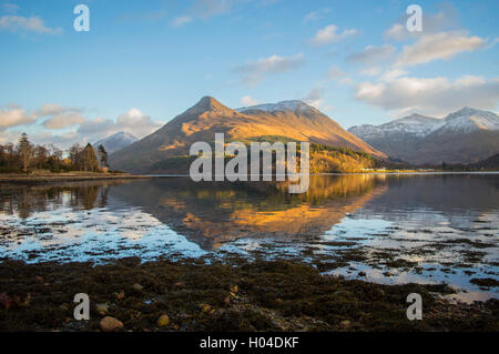Looking across Loch Leven to the Pap of Glencoe - Stock Photo