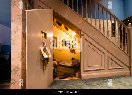 Harry Potter's bedroom, under the staircase, at Warner Bros Studios Tour, London, UK - Stock Photo