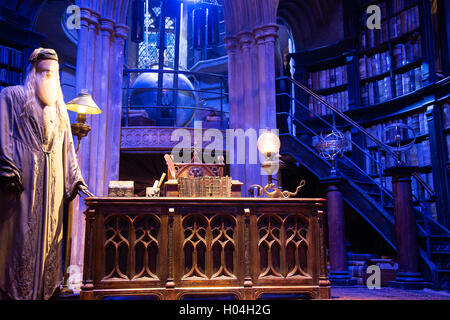 Albus Dumbledore's Office, Warner Brothers Studio Tour, The Making of Harry Potter, London - Stock Photo