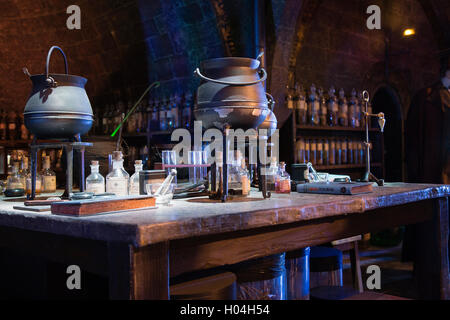 Potion classroom, Warner Brothers Studio Tour, The Making of Harry Potter, London - Stock Photo