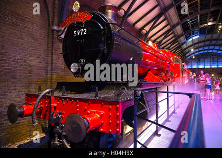 Hogwarts express train, Warner Brothers Studio Tour, The Making of Harry Potter, London - Stock Photo