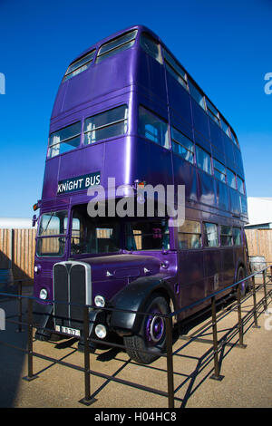 The knight bus, Warner Brothers Studio Tour, The Making of Harry Potter, London - Stock Photo