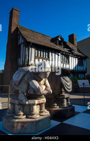Chess pieces in front of Potters' Cottage, Godric's Hollow, Warner Brothers Studio Tour, The Making of Harry Potter, - Stock Photo
