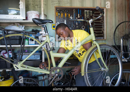 Bicycle mechanic servicing a bicycle in his workshop, Cape Town, South Africa - Stock Photo