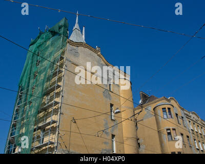 Old Art Nouveau buildings being renovated. Budapest.Hungary - Stock Photo