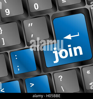 online communities concept, with 'join us' on computer keyboard. - Stock Photo