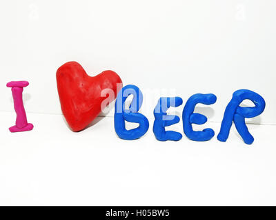 I love beer made from plasticine - Stock Photo