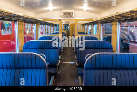 Interior of vintage railcar SBB RAe 2/4 1001 'Roter Pfeil', operated by SBB-CFF-FFS in Switzerland. - Stock Photo
