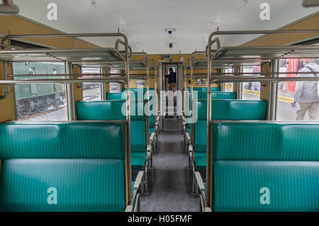 Vintage second class passenger train carriage of type Einheitswagen EW I, operated by SBB/CFF/FFS in Switzerland. - Stock Photo