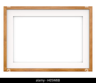 3D render of Classic Wooden Frame with white Passe-partout. Blank for Copy Space. - Stock Photo