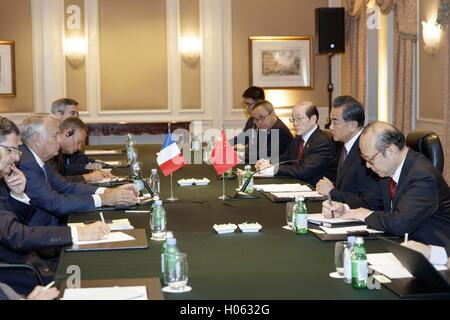 New York, USA. 19th Sep, 2016. Chinese Foreign Minister Wang Yi(2nd R) meets with his French counterpart Jean-Marc - Stock Photo