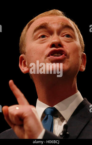 Brighton, UK. 20th Sep, 2016. Tim Farron, Party Leader gives his keynote speech during the Liberal Democrats Autumn - Stock Photo