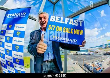 Belfast, Northern Ireland. 20 Sep 2016 - Michael O'Leary, CEO of Ryanair, criticises the Northern Ireland Assembly, - Stock Photo