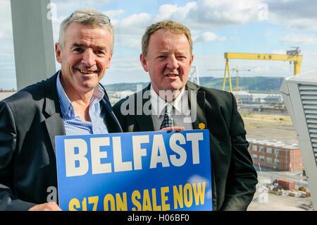 Belfast, Northern Ireland. 20 Sep 2016 - Michael O'Leary with Graham Keddie, Managing Director of Belfast International - Stock Photo