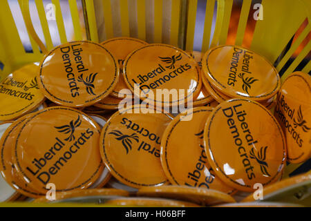 Brighton, UK 20th Sep, 2016 Liberal Democrat badges are on sale at  the Liberal Democrats Autumn Conference at Brighton, - Stock Photo