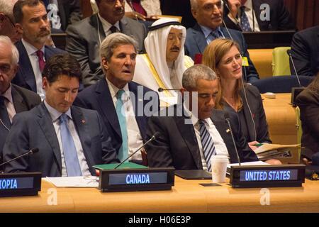 New York, USA. 20th September, 2016. US Secretary of State John Kerry, President Barack Obama, and US Ambassador - Stock Photo
