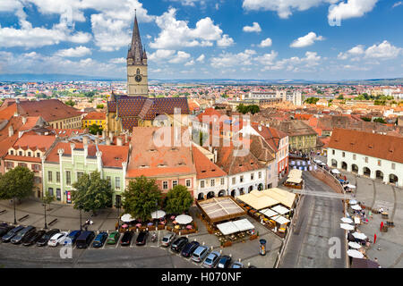 Aerial view of Sibiu old center. - Stock Photo