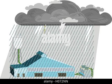 Industrial Plant. Flat 3d design. Industrial banner with storm, gray clouds. - Stock Photo
