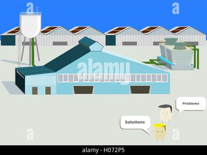 Industrial Plant. Flat 3d design. Industrial banner with opposition point of view - Stock Photo