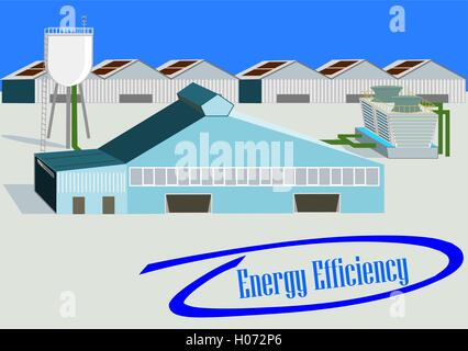 Industrial Plant. Flat 3d design. Industrial banner with energy efficiency phrase into blue circled check mark - Stock Photo