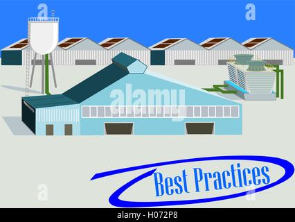 Industrial Plant. Flat 3d design. Industrial banner with best practices phrase into blue circled check mark - Stock Photo