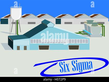 Industrial Plant. Flat 3d design. Industrial banner with six sigma phrase into blue circled check mark - Stock Photo