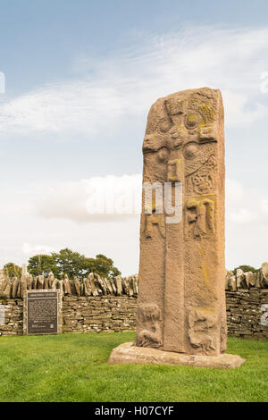 Pictish standing stone - ancient carved stone with a celtic cross at Aberlemno, Angus, Scotland