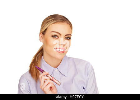 Young Woman Smokin Electic Cigarette - Stock Photo
