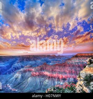 Arizona sunset Grand Canyon National Park Mother Point US - Stock Photo
