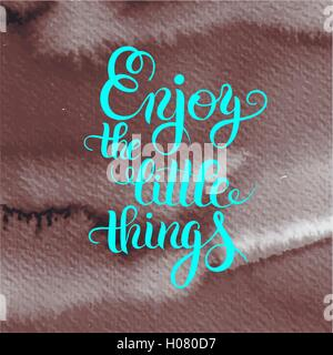 modern calligraphy positive quote enjoy the little things inscri - Stock Photo