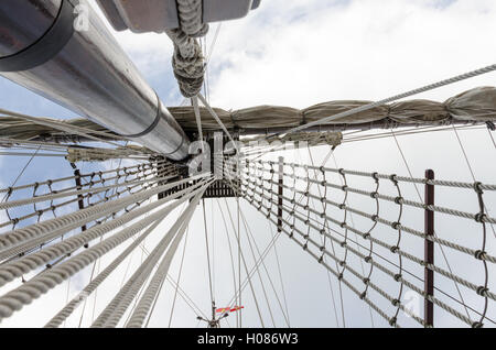 Looking up into tall ship rigging. - Stock Photo