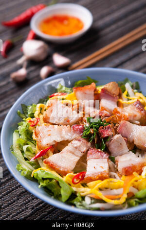 Fried rice mixed with pork - Stock Photo