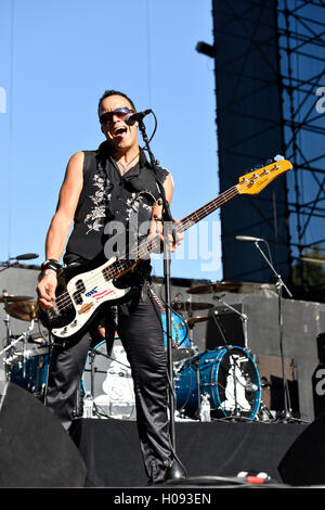September 17, 2016, Irvine California, Bassist of the band Bulletboys on stage at the Sirius XM Hair Nation Fest - Stock Photo