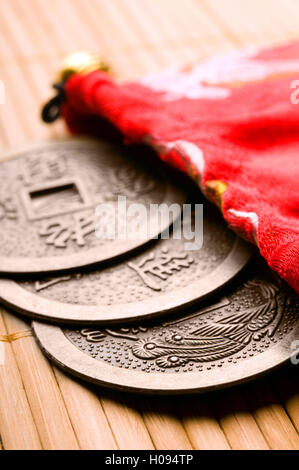 Chinese Feng Shui Coins for wealth and success - Stock Photo