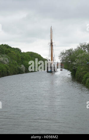 Tall ship Den Store Bjorn leaving Gloucester on the Gloucester & Sharpness Canal - Stock Photo