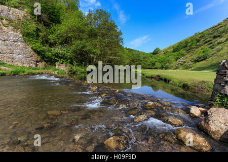 Weir, River Dove, Dovedale and Milldale in spring, White Peak, Peak District, Derbyshire Staffordshire border, England, - Stock Photo