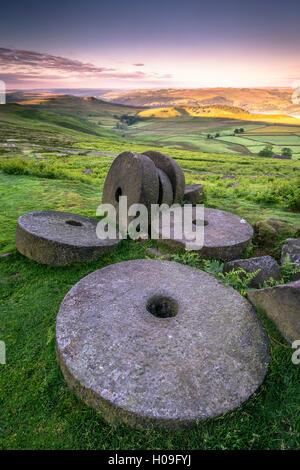 Stanage Edge millstones at sunrise, Peak District National Park, Derbyshire, England, United Kingdom, Europe - Stock Photo
