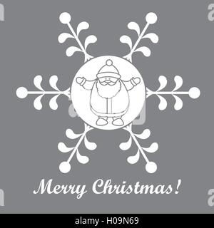 Christmas series: nice picture with Santa Claus in a snowflake in a linear style on a colored background. - Stock Photo