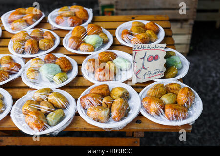 Prickly pears displayed on stall at Ballarò Market, Palermo, Sicily - Stock Photo