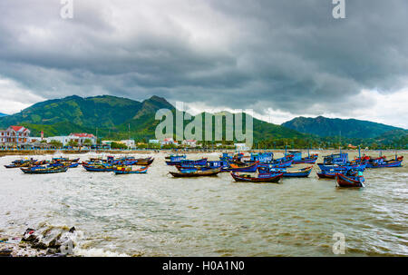 Blue fishing boats, fishing boats on the water, harbor, Nha Trang, Khánh Hòa Province, Vietnam - Stock Photo