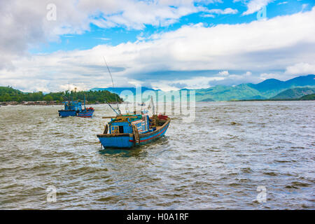 Blue fishing boats, fishing boats on the water, Nha Trang, Khánh Hòa Province, Vietnam - Stock Photo