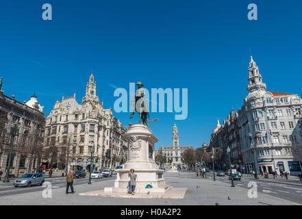 Equestrian statue of Dom Pedro IV, Aliados Avenue and townhall, Porto, District of Porto, Portugal - Stock Photo