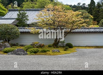 Zen garden of Hojo at Nanzen-ji Buddhist temple in Kyoto, Japan - Stock Photo