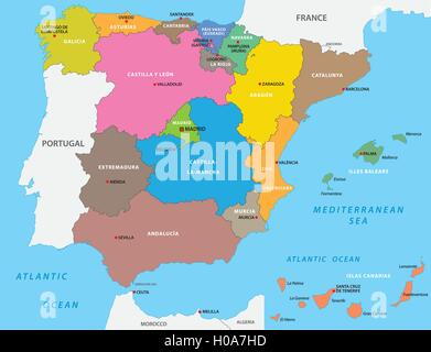 Map of spain with their autonomous communities and islands